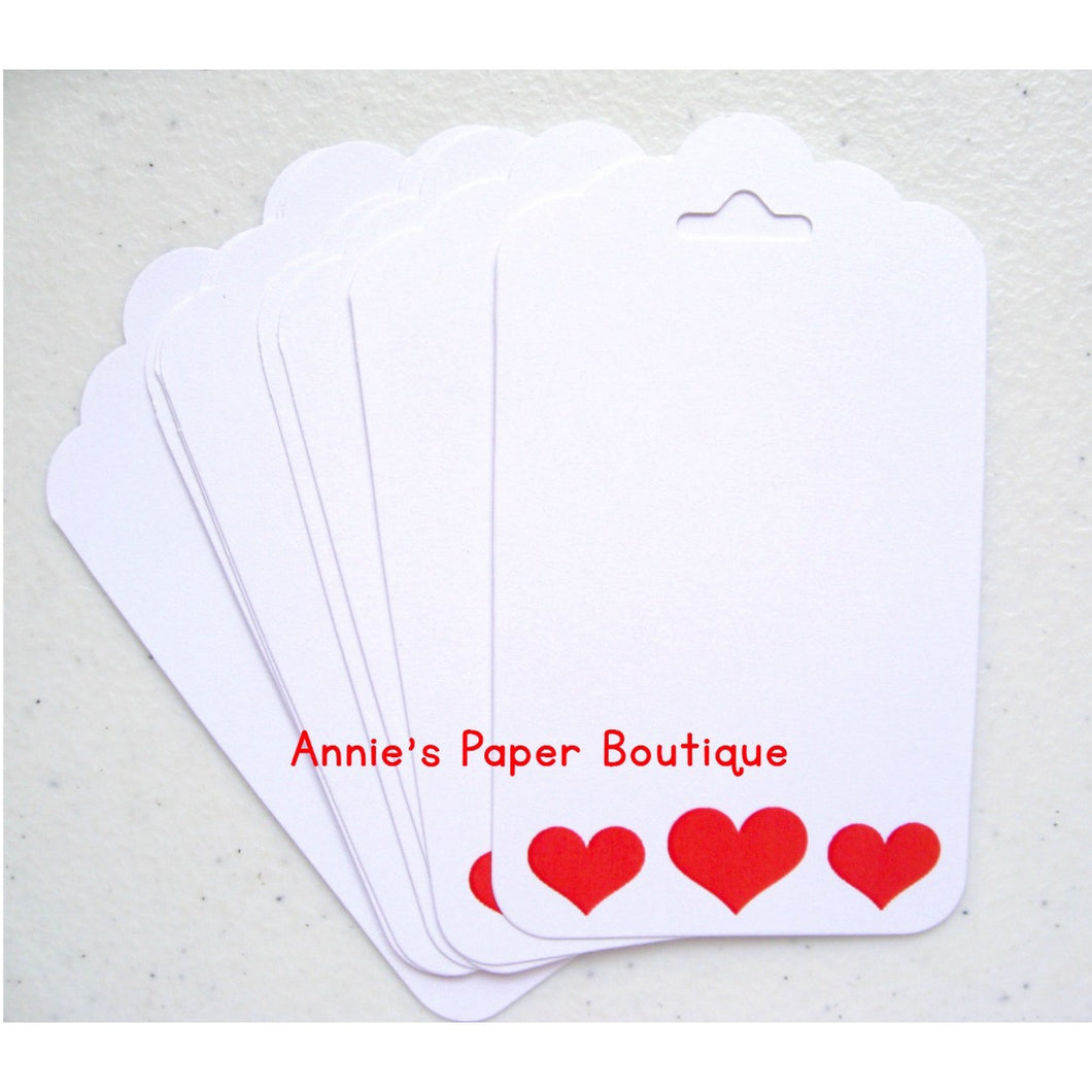 Journaling tags, white with red heart border
