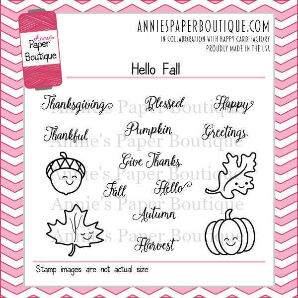 Hello Fall Planner Stamps - 3x4 - Pumpkin, Acorn, Leaves, Blessed ...