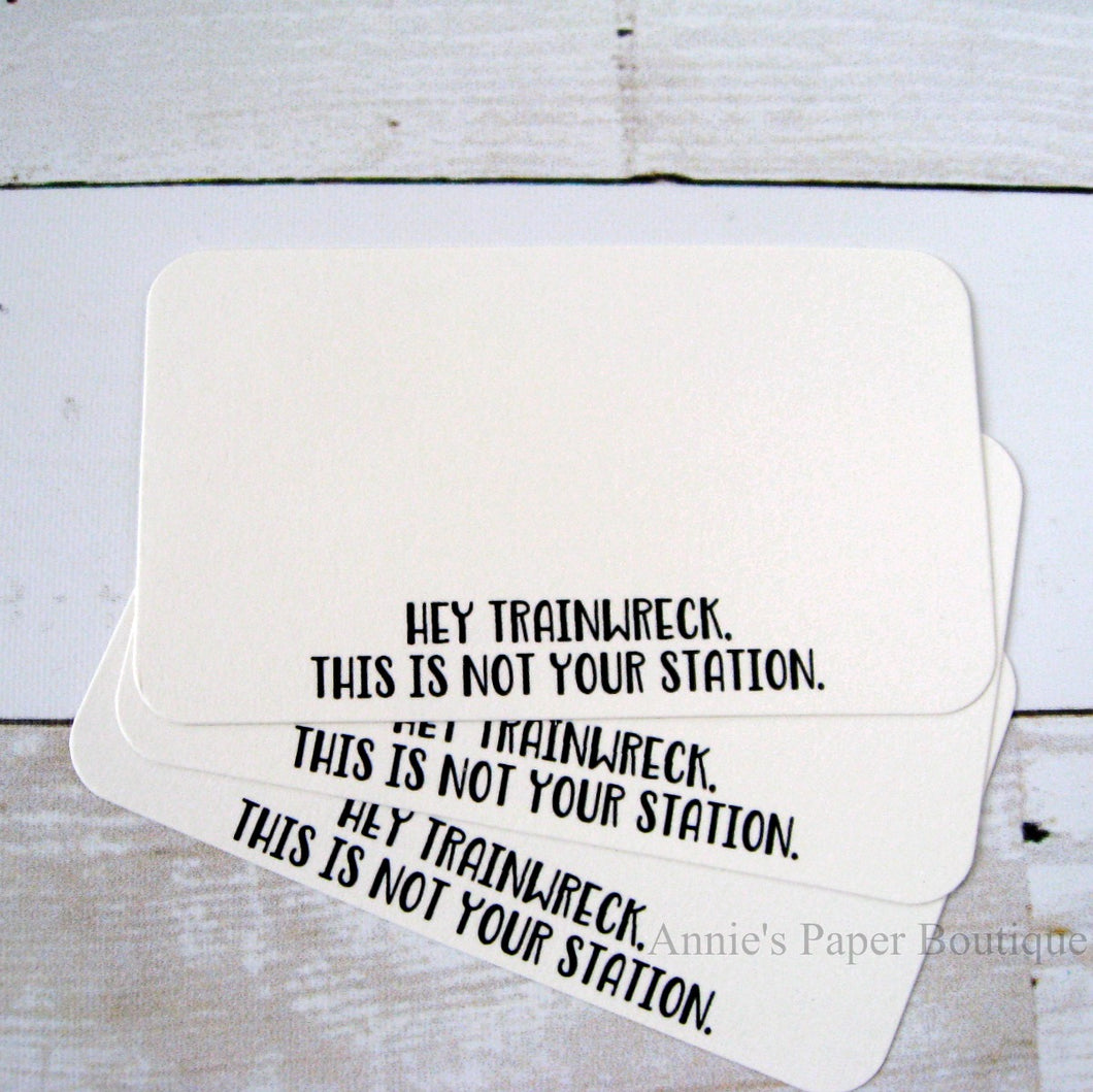 Hey Trainwreck, This is Not Your Station Mini Note Cards