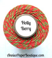 Holly Berry Trendy Bakers Twine - Red & Green - Christmas, Holiday