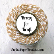 Krazy for Kraft Trendy Bakers Twine - Tan & White - Flax, Light Brown