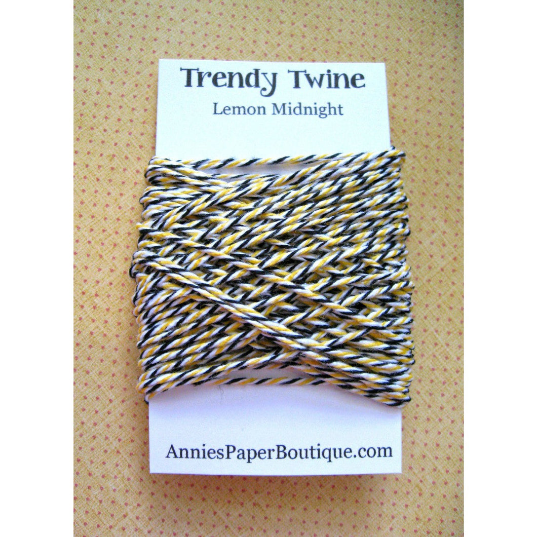 Lemon Midnight Trendy Bakers Twine Mini - Black, White, and Yellow