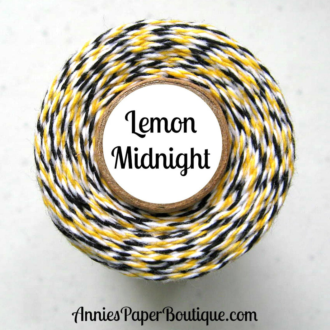 Lemon Midnight Trendy Bakers Twine - Yellow, White, & Black