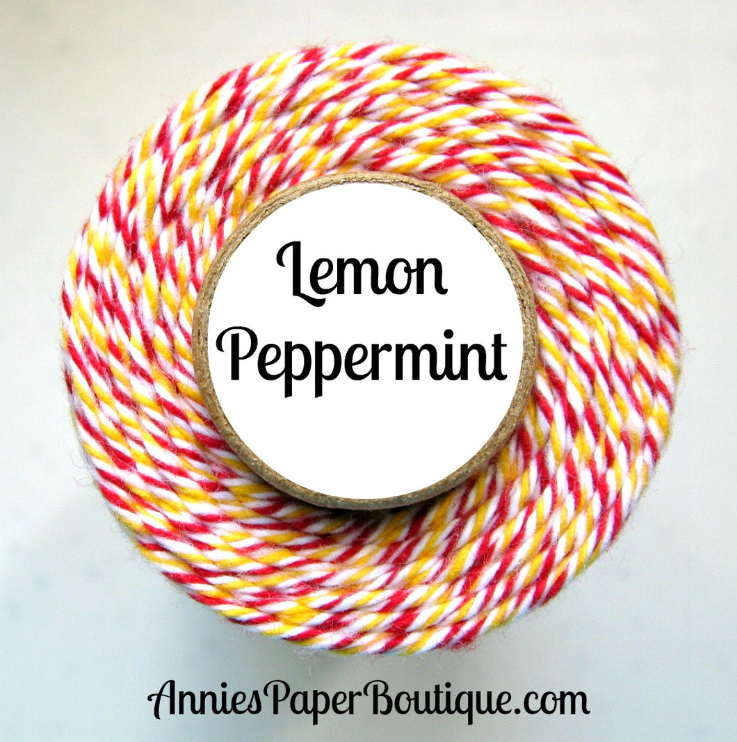Lemon Peppermint Trendy Bakers Twine - Red, White, & Yellow