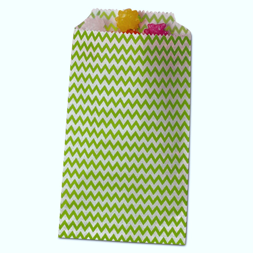 Light Green Chevron Treat Bags