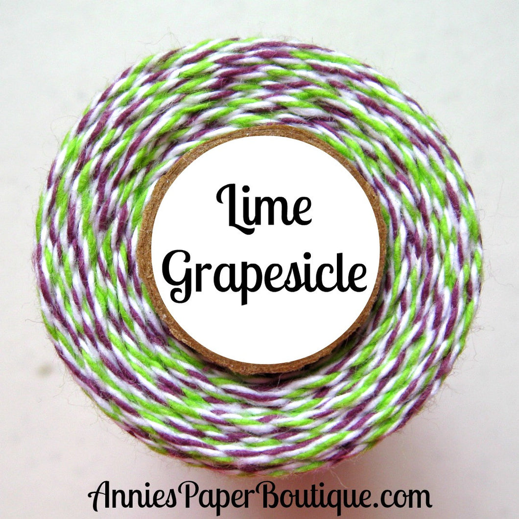 Lime Grapesicle Trendy Bakers Twine - Lime Green, White, & Purple - Halloween