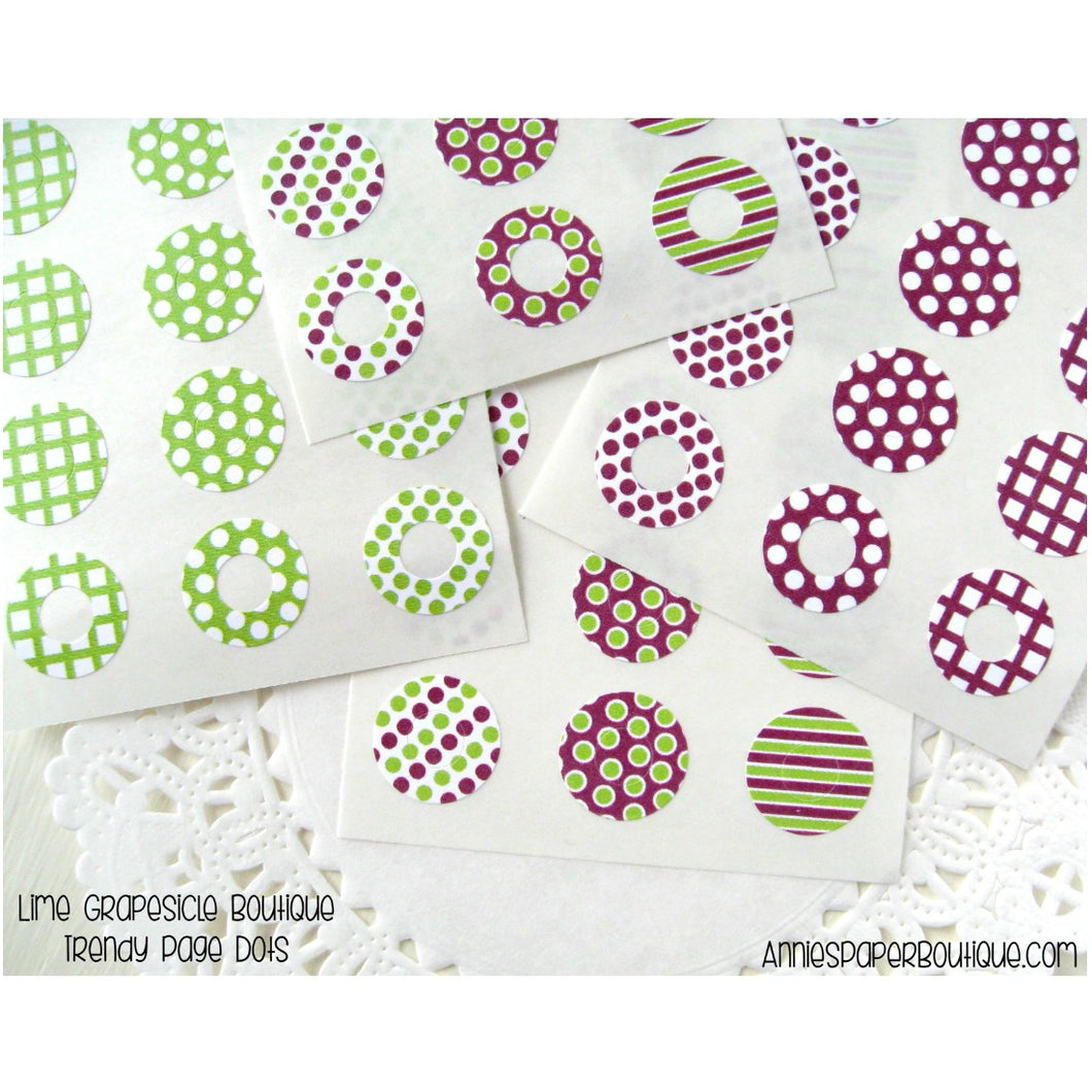 Lime Grapesicle Trendy Page Dots - Lime Green and Purple Reinforcements