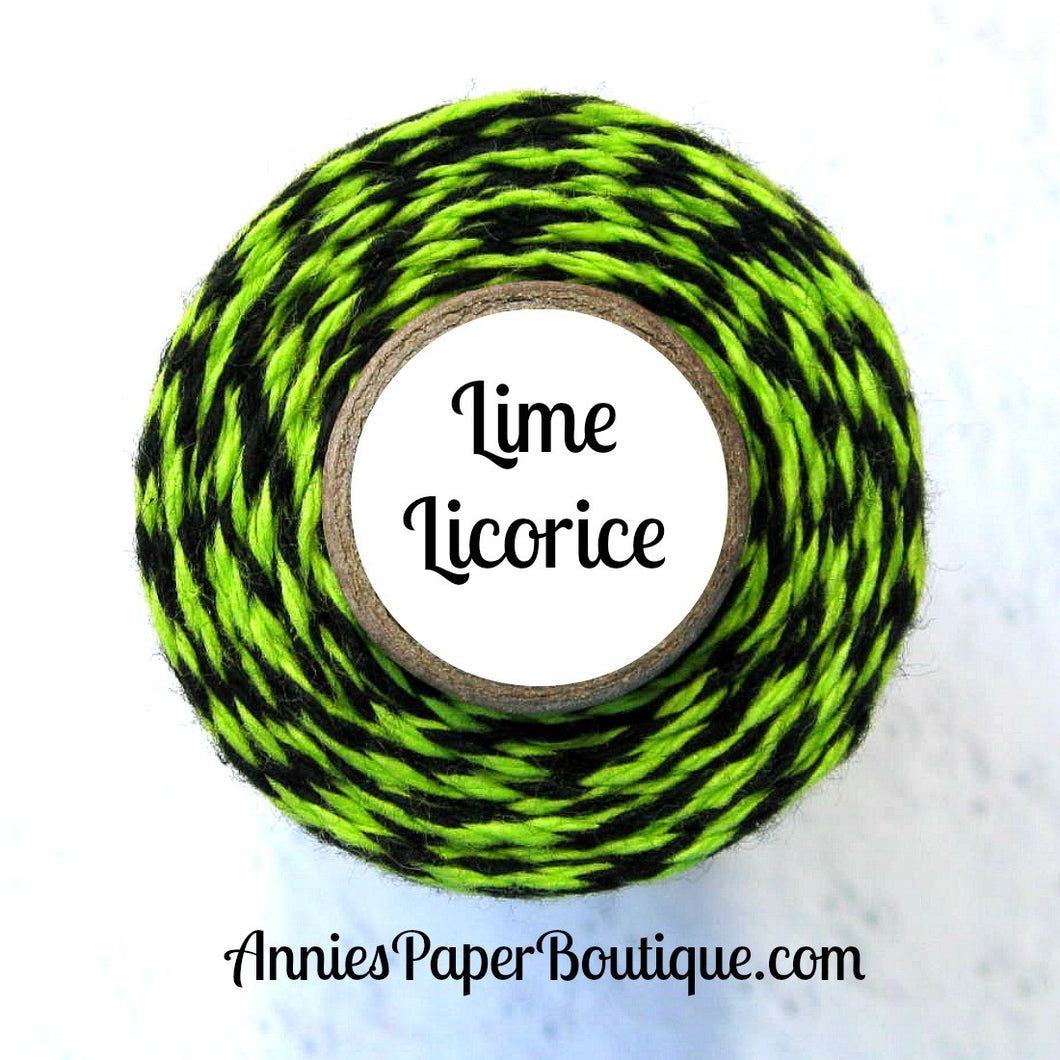 Lime Licorice Trendy Bakers Twine - Lime Green & Black - Halloween Twine