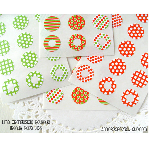 Lime Orangesicle Trendy Page Dots - Lime Green and Orange Reinforcements