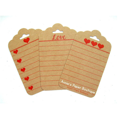 Love & Hearts - Kraft Journaling Tags