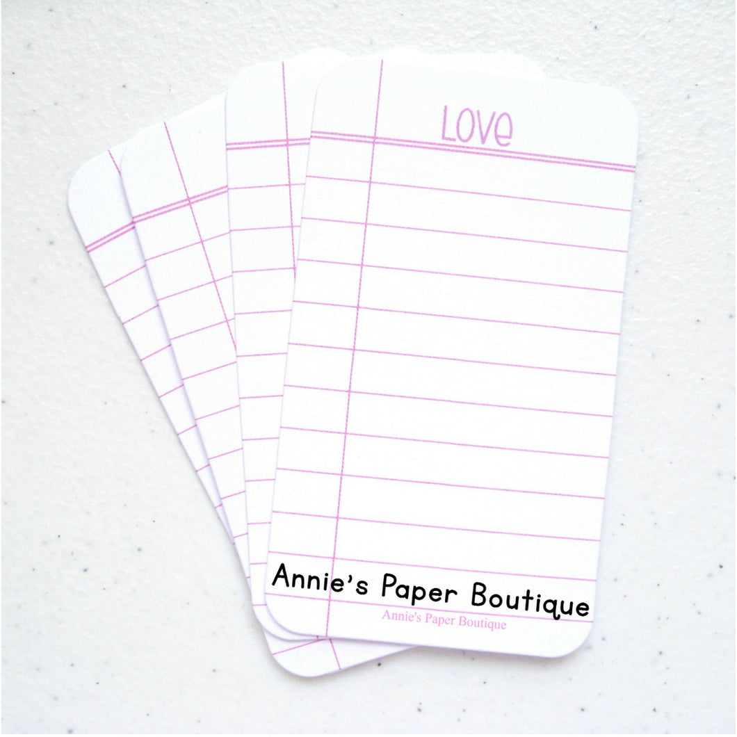 Love notebook paper journaling card