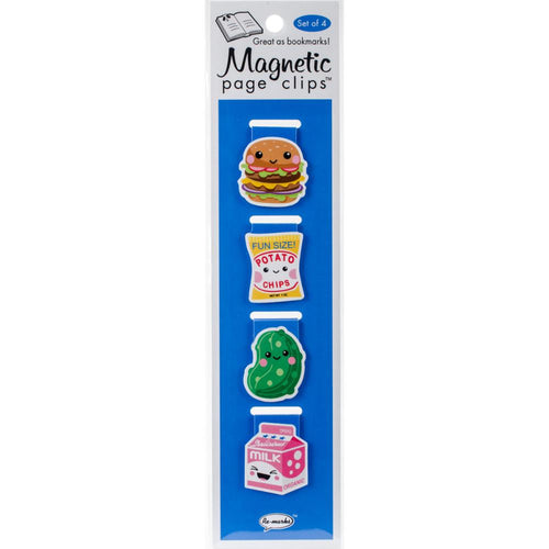 Lunch Magnetic Page Clips - Hamburger, Chips, Pickle, Milk