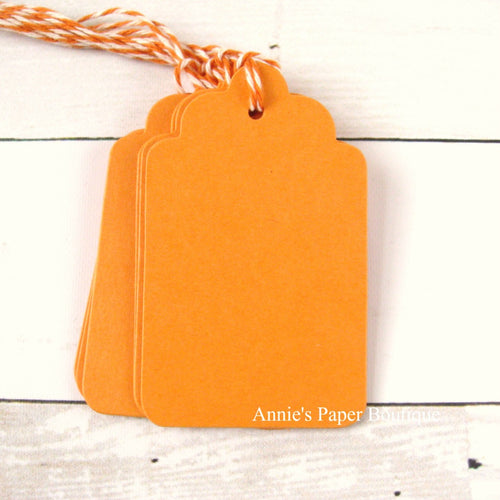 Mango Scallop Tags with Creamy Pumpkin Trendy Twine