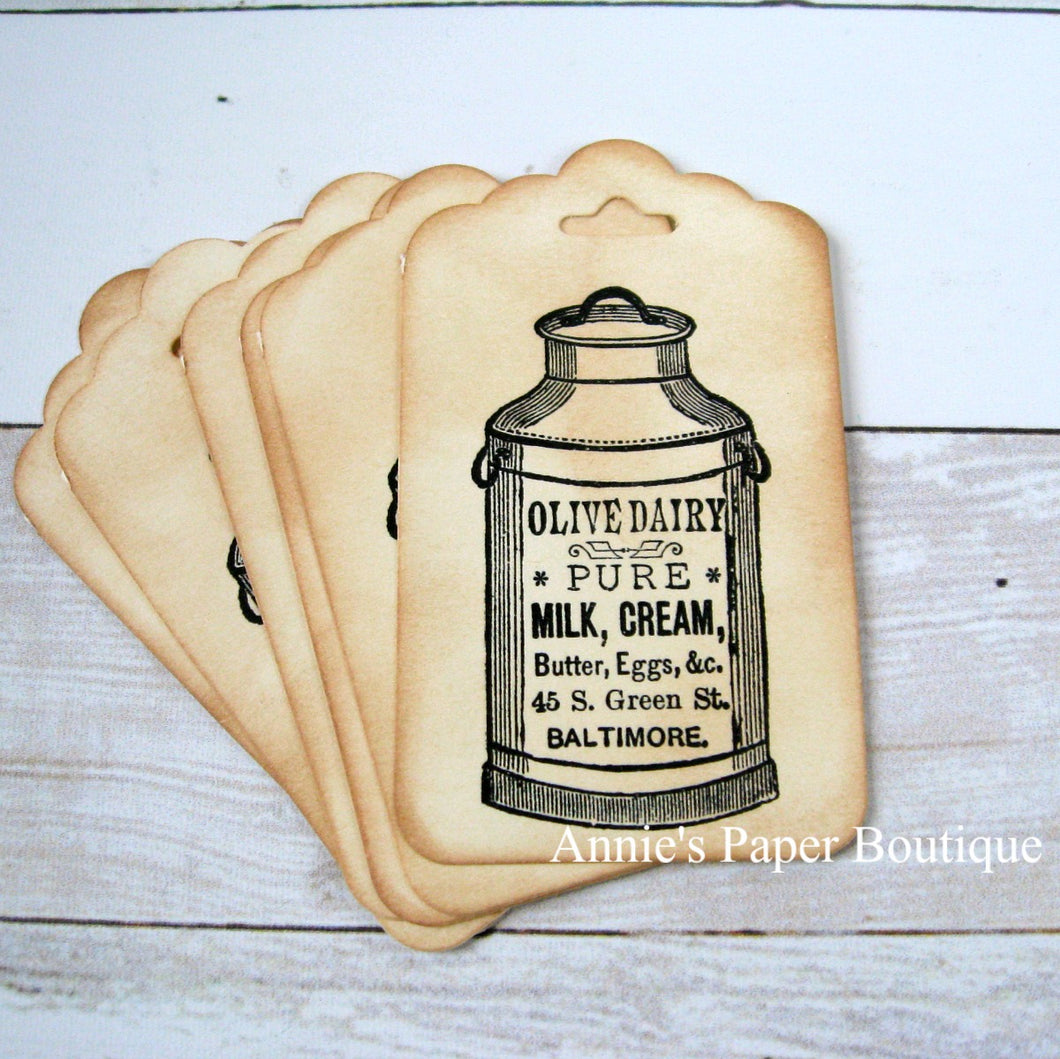 Milk Can Vintage Inspired Tags