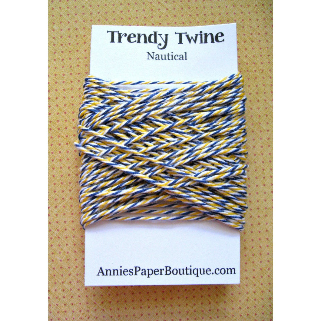 Navy Blue, White, and Yellow Trendy Bakers Twine