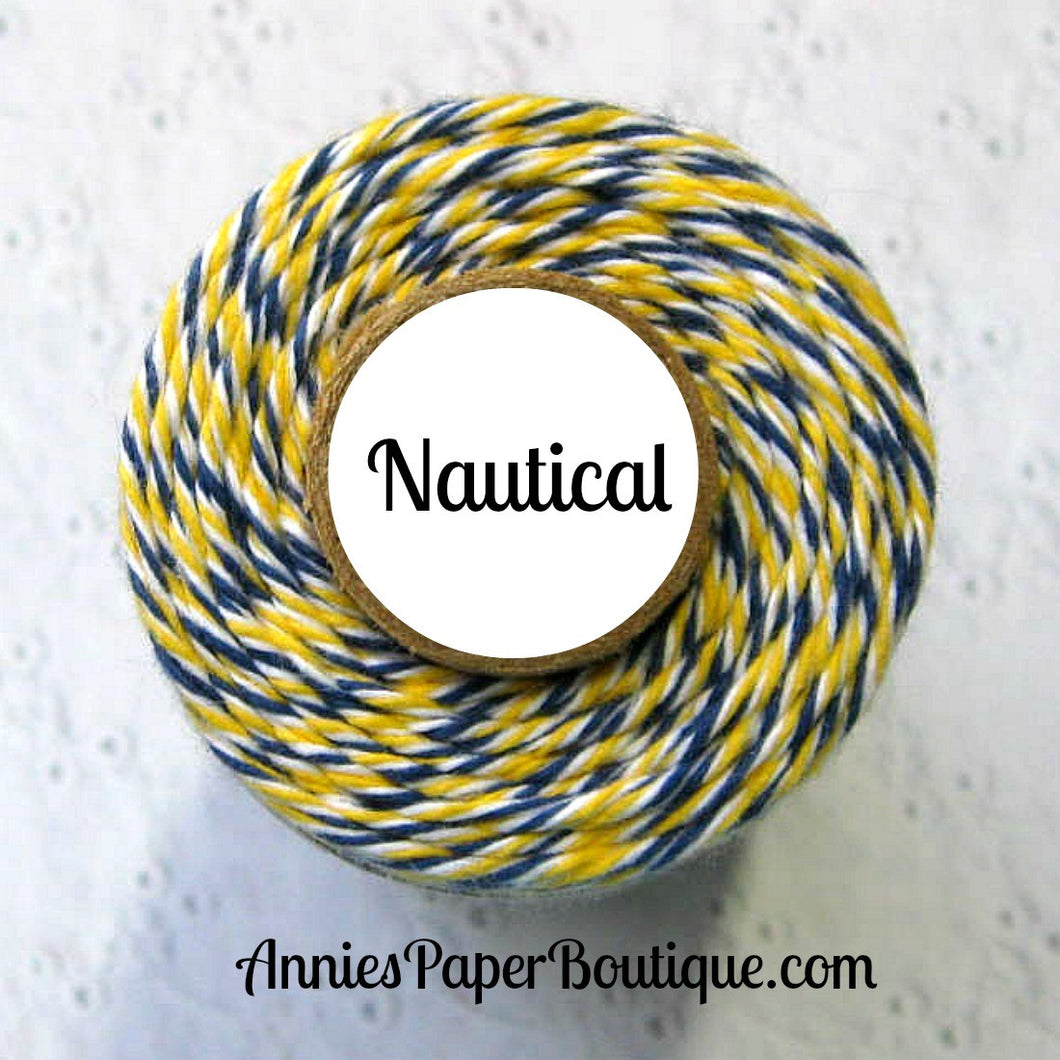 Nautical Trendy Bakers Twine - Yellow, White, & Navy Blue