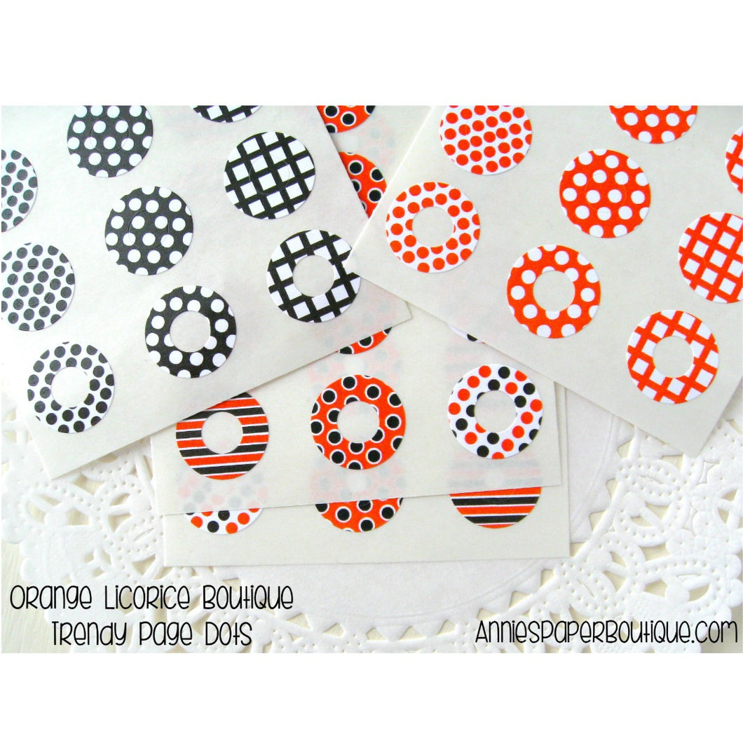 Orange Licorice Trendy Page Dots, Black and Orange Reinforcement Stickers
