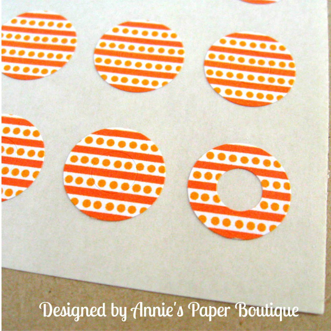 Orange Stripes & Dots Trendy Page Dots™ - Circle Reinforcement Stickers
