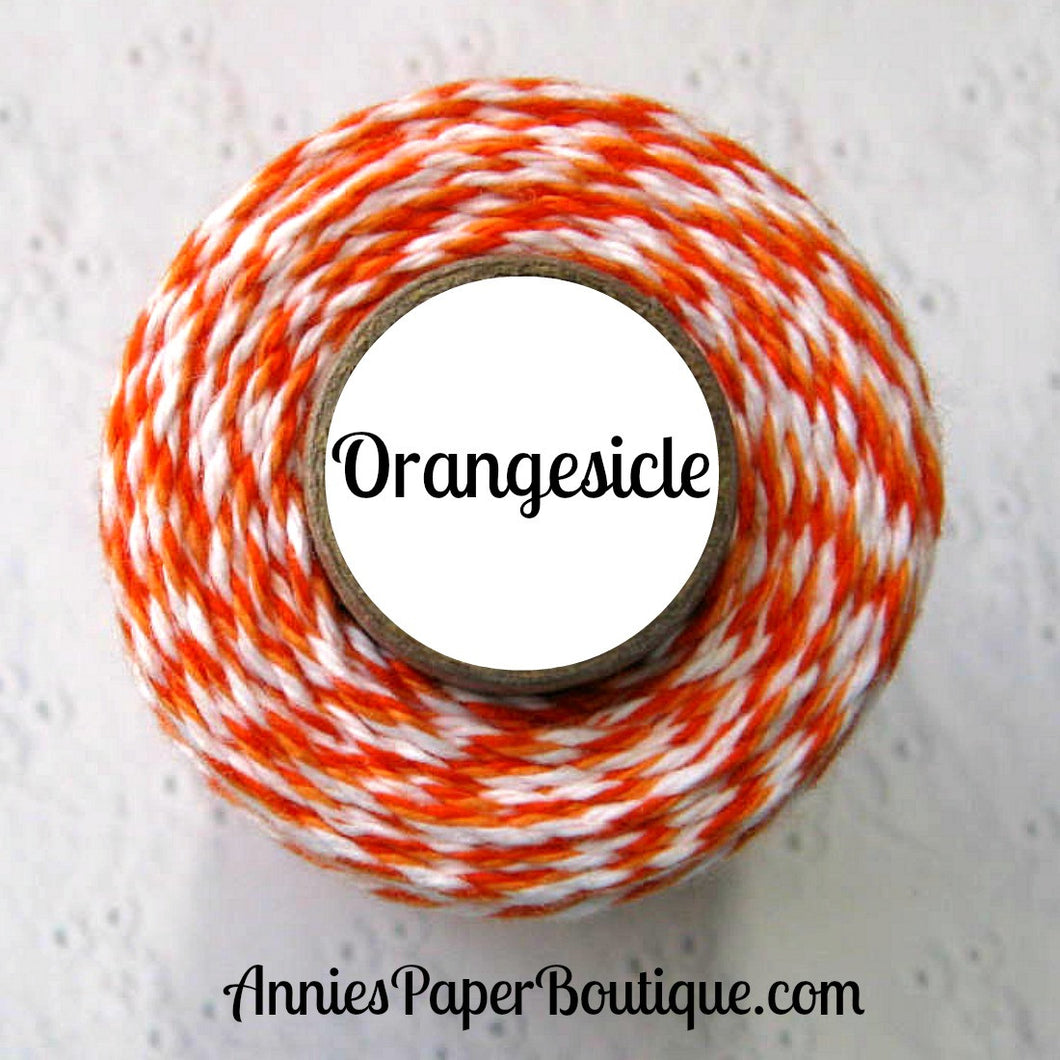 Orangesicle Trendy Bakers Twine - Dark Orange, Peach, & White