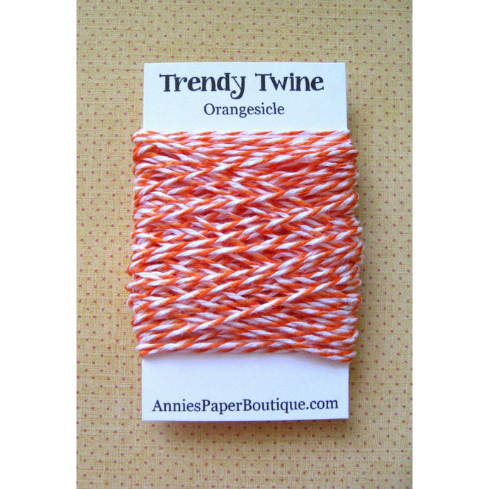 Orangesicle Trendy Bakers Twine Mini - Dark Orange, Peach, and White