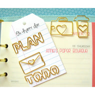 Set - Camera, Coffee, Love Letter, Plan, & To Do Planner Paper Clips