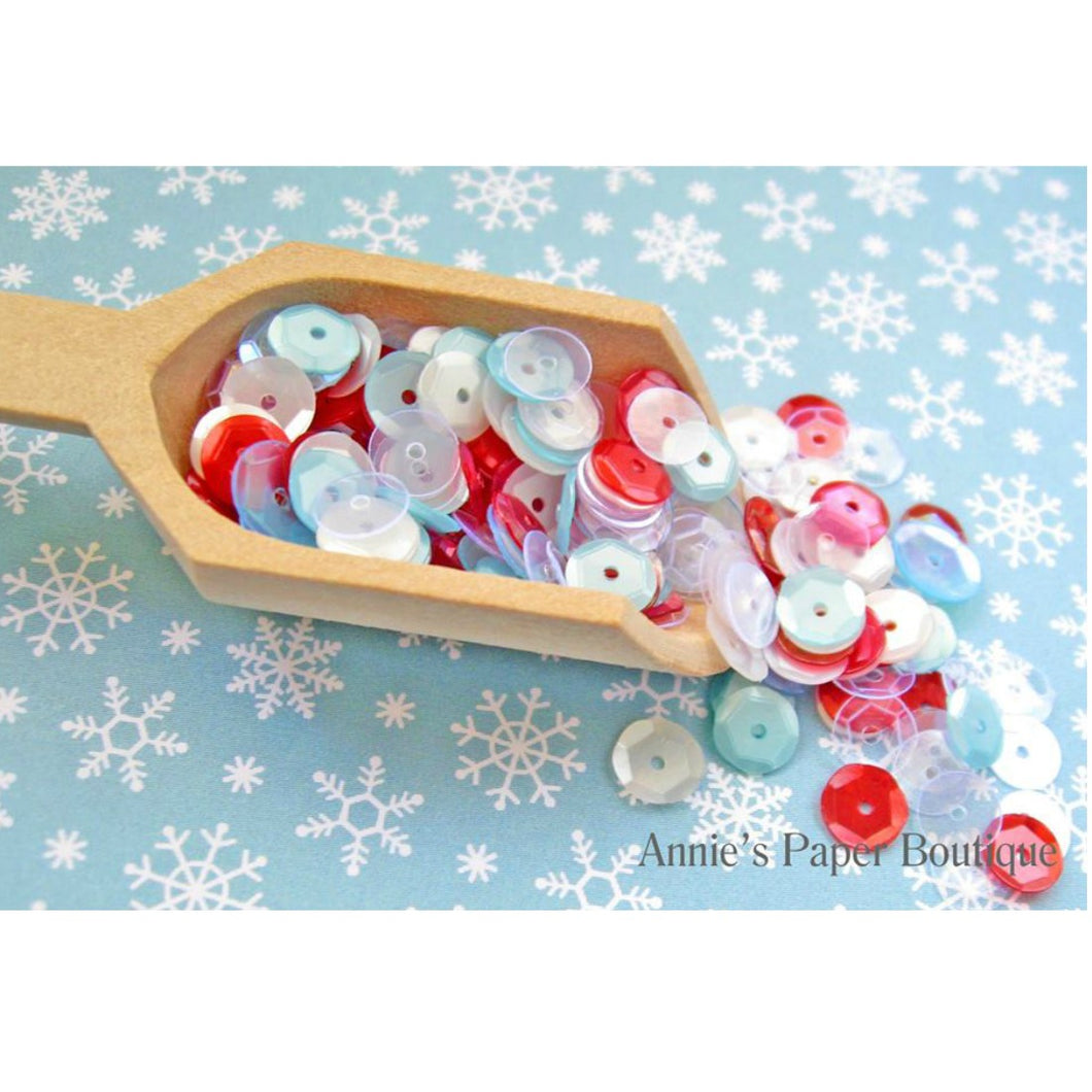 Peppermint Icicle Sequins, Red, White, and Light Blue