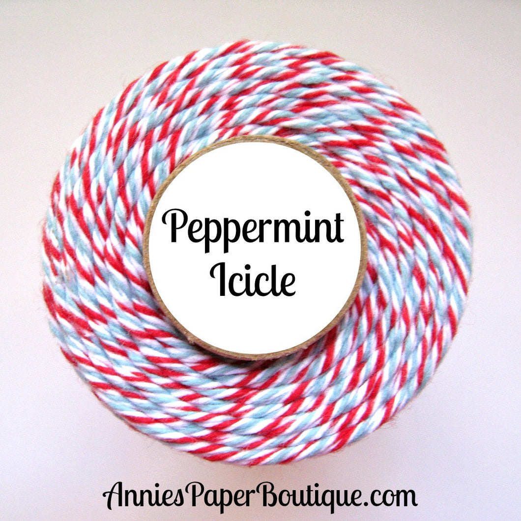 Peppermint Icicle Trendy Bakers Twine - Red, White, & Light Blue - Christmas, Holiday