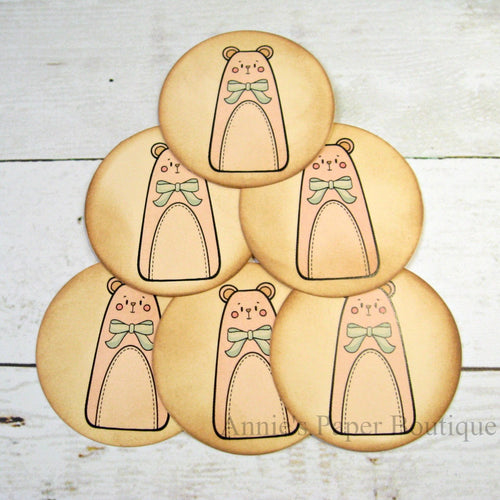 Round Pink Country Bear Vintage Inspired Tags