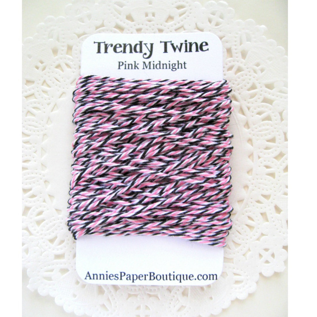 Pink Midnight Trendy Bakers Twine Mini - Pink, White, and Black
