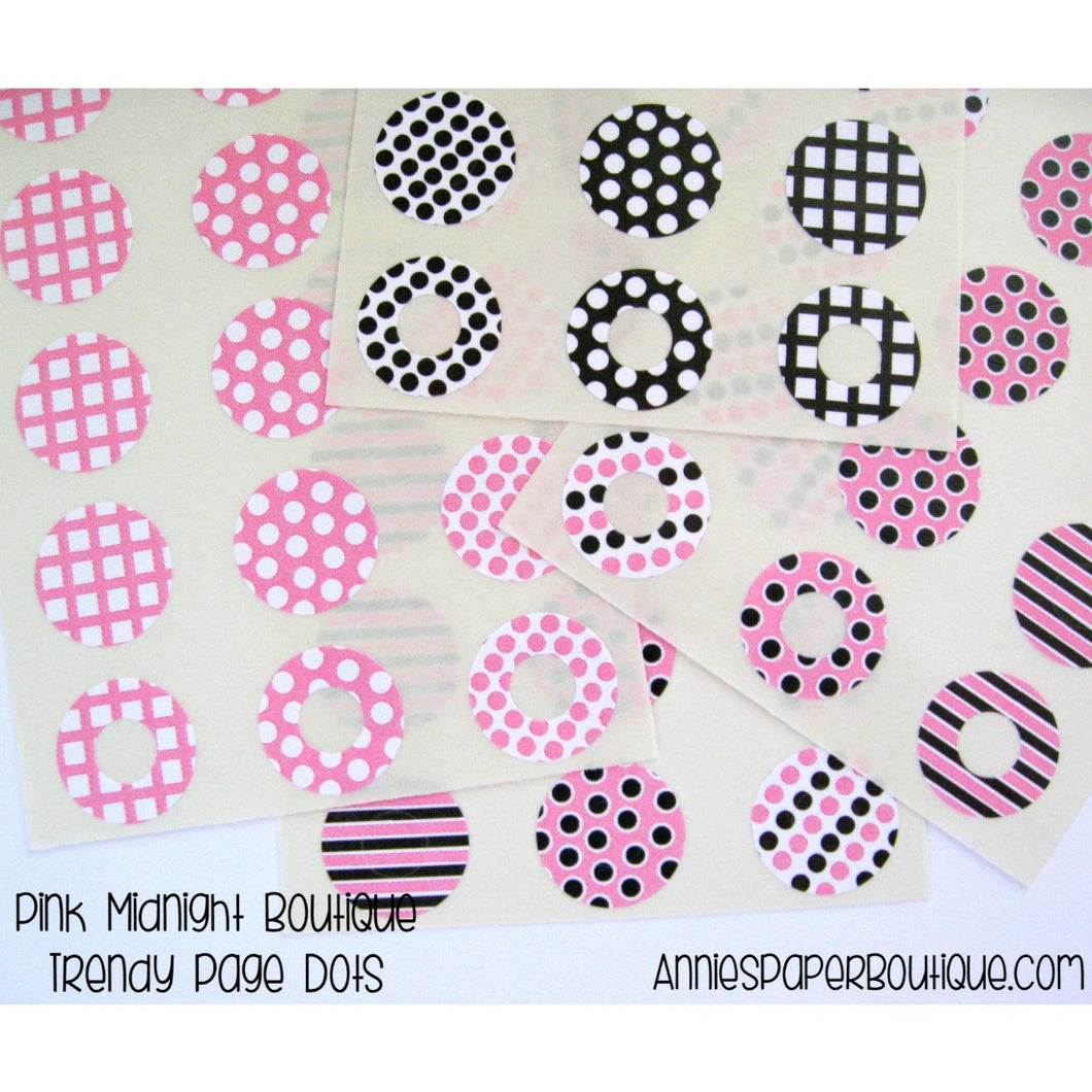 Pink Midnight Trendy Page Dots, Hole Reinforcers, Reinforcements