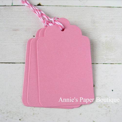 Pink Scallop Tags with Tickled Pink Trendy Twine