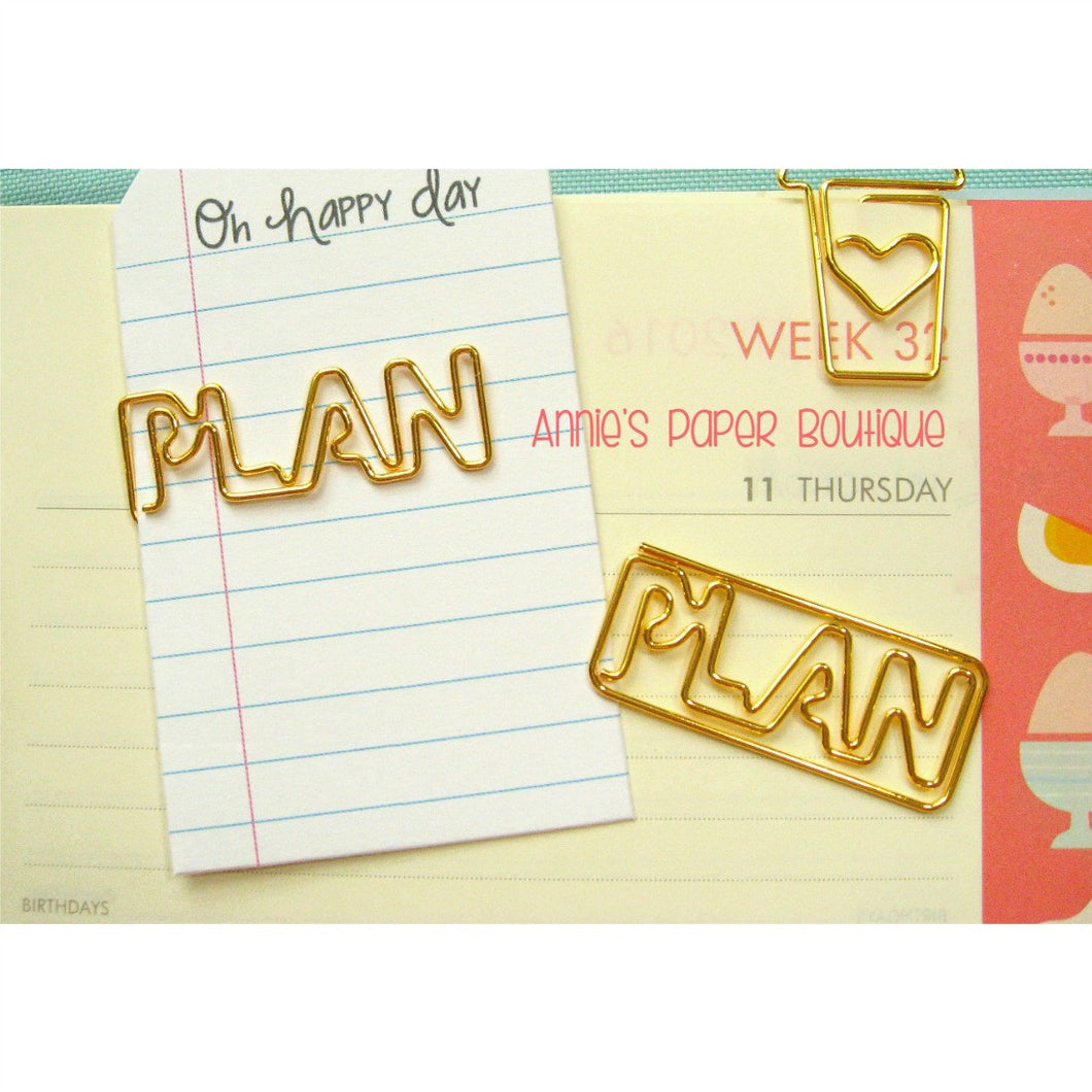 Plan Paper Clips - Gold Planner Clip