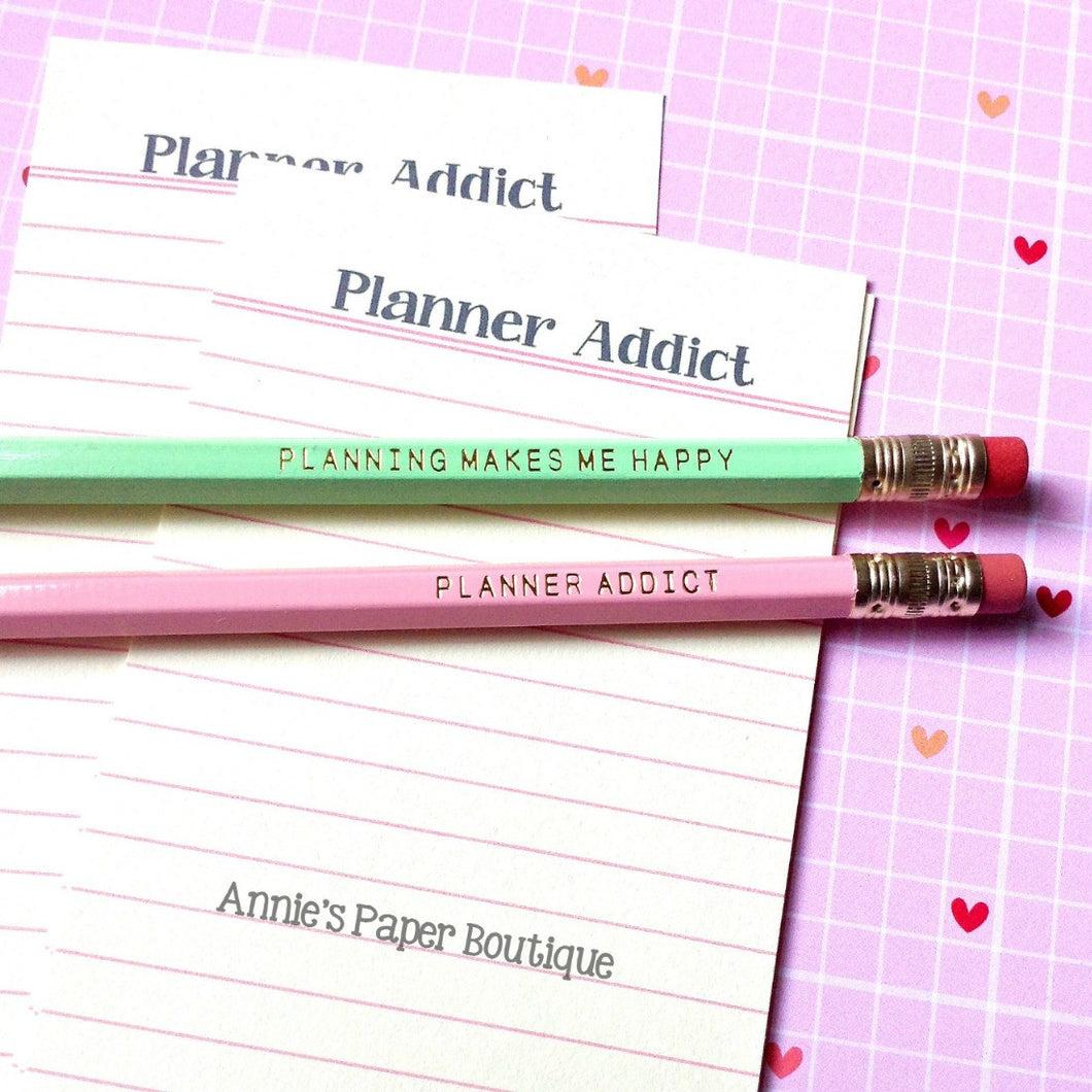 Planning Makes Me Happy & Planner Addict Pencil Set - Pink & Mint