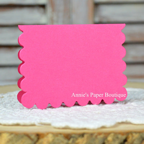 Raspberry Pink Scallop Note Card
