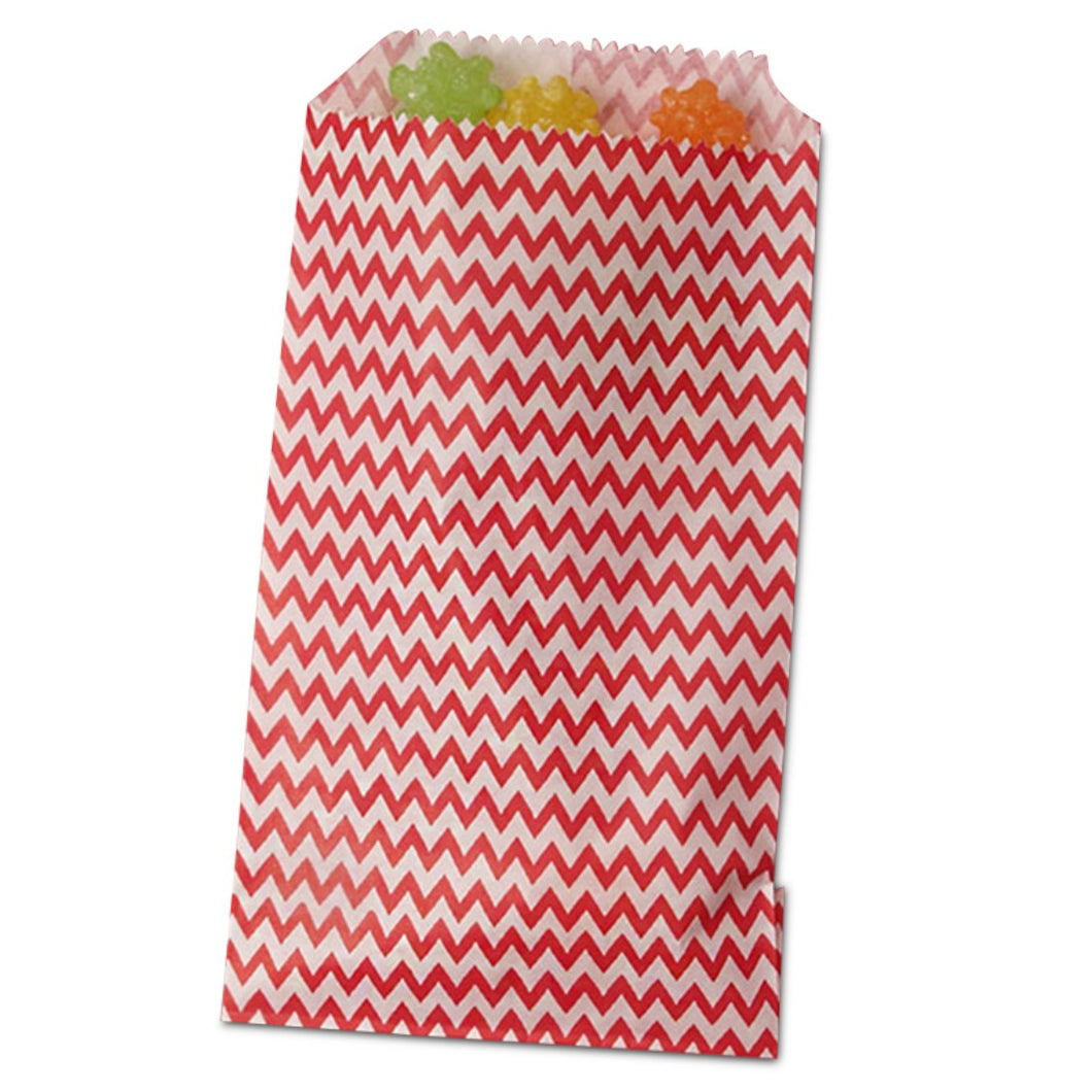 Red Chevron Treat Bags - 3-1/4