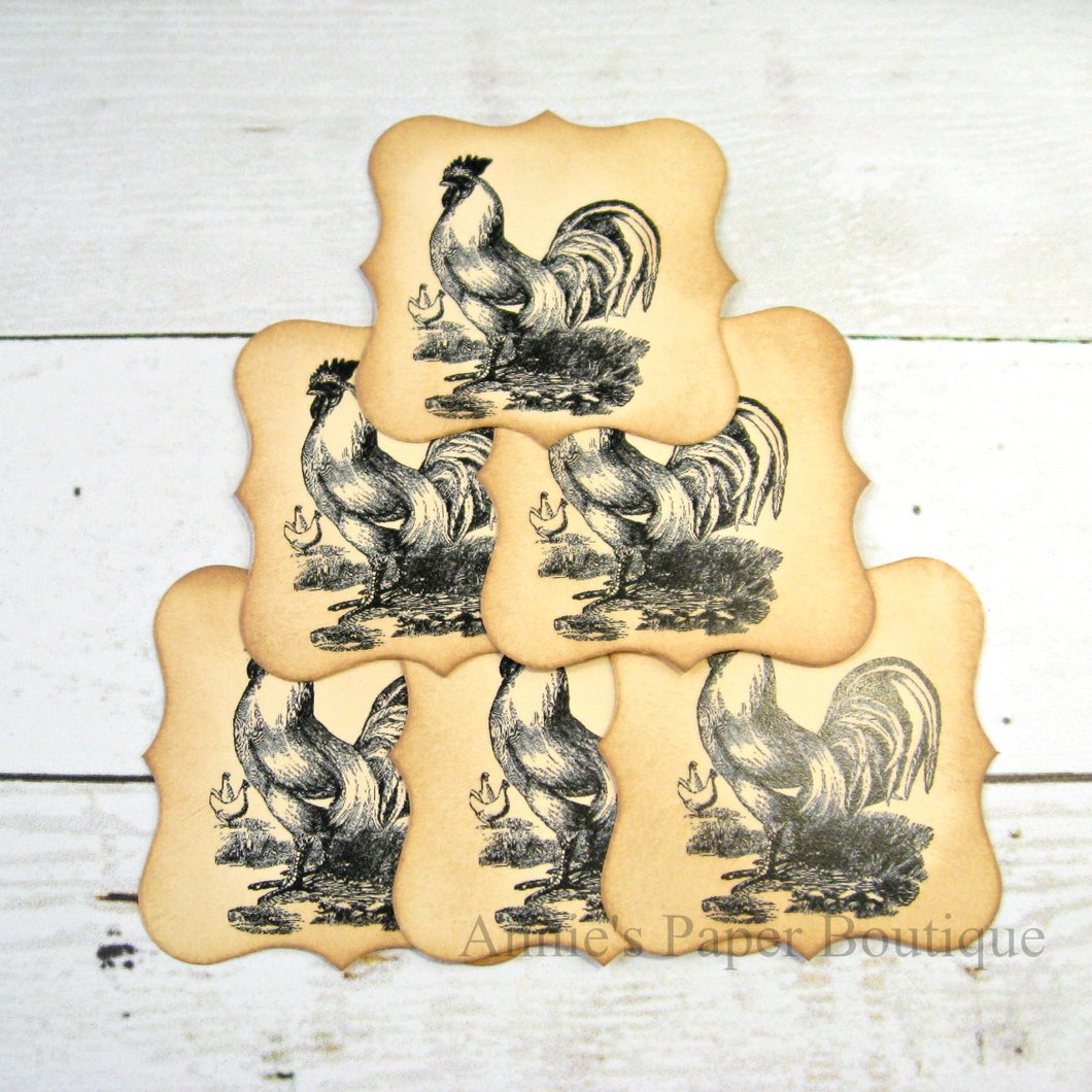 Rooster Vintage Inspired Bracket Tags