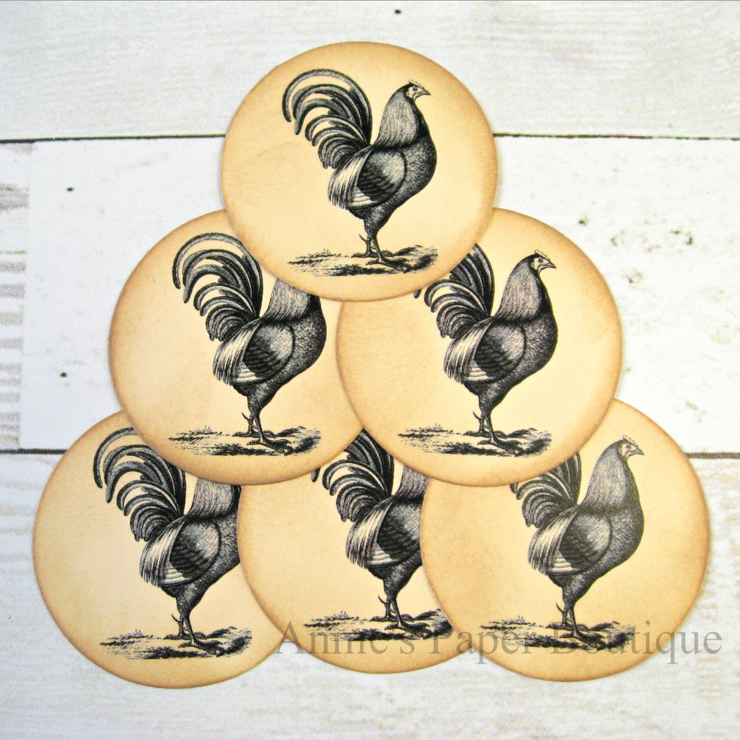 Round Rooster Vintage Inspired Tags
