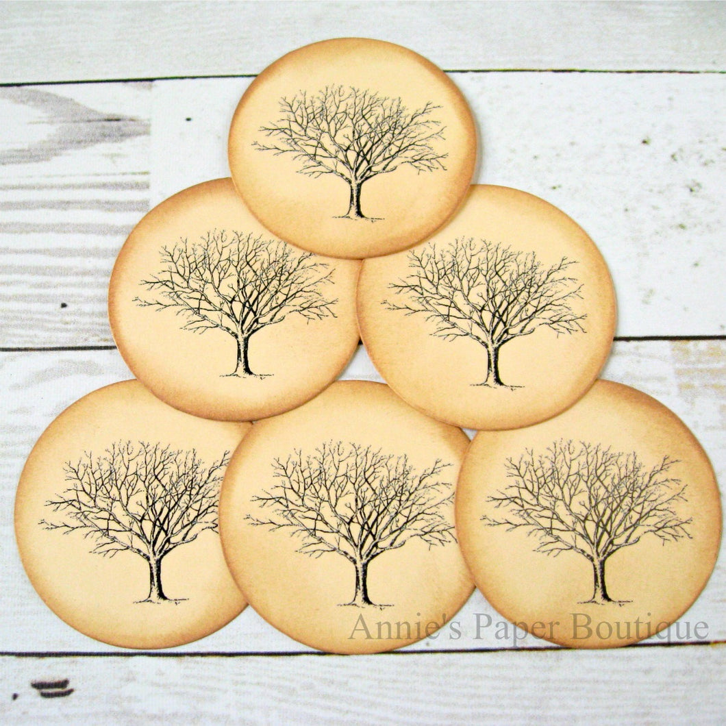 Round Bare Tree Vintage Inspired Tags