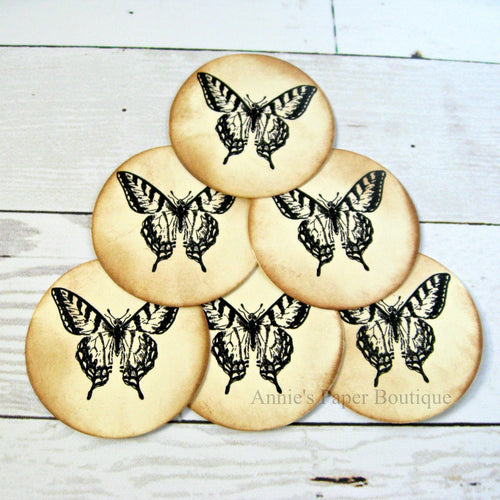Round butterfly tags