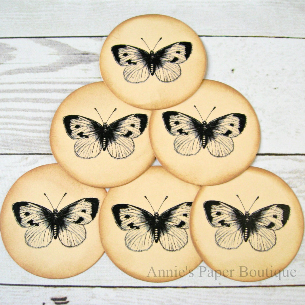 Round Butterfly No.2 Vintage Inspired Tags