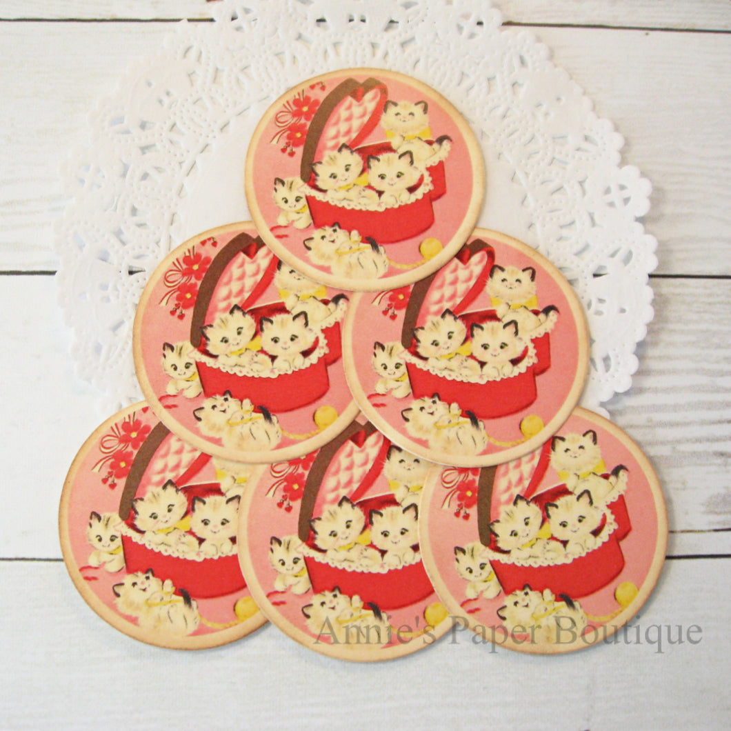 Candy Box Kitty Vintage Inspired Tags