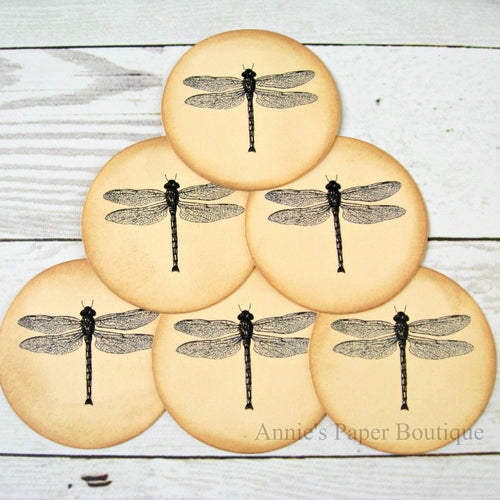 Round Dragonfly Vintage Inspired Tags