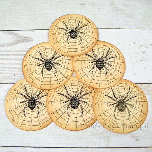 Round Spider Vintage Inspired Tags
