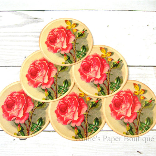 Round Vintage Inspired Tags - Pink roses