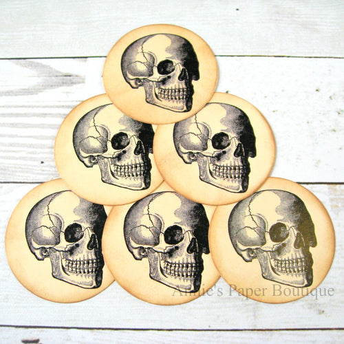 Round Skull Vintage Inspired Tags