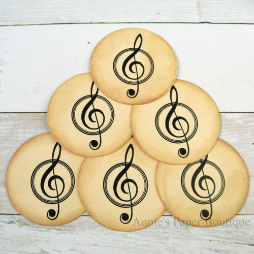 Treble Clef vintage inspired tags