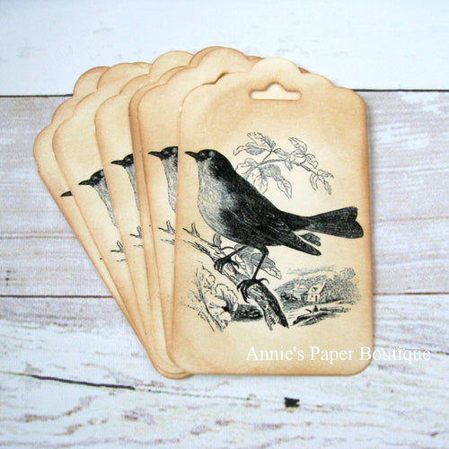 Black Bird Vintage Inspired Tags