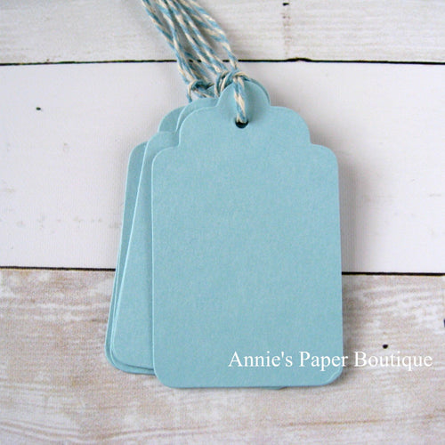Sky Scallop Tags with Sky Trendy Bakers Twine