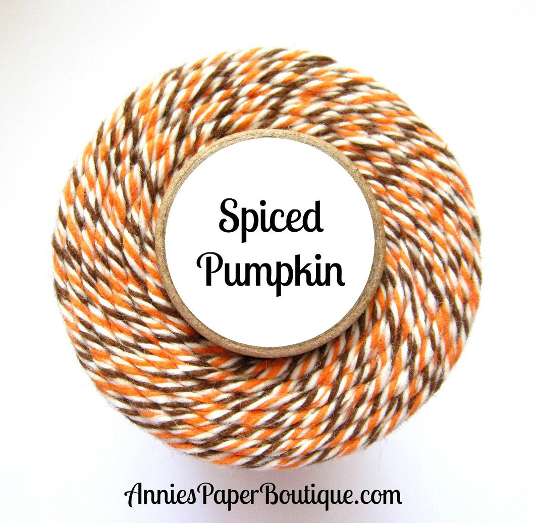 Spiced Pumpkin Trendy Bakers Twine - Pumpkin Orange, Natural White, & Brown - Thanksgiving, Fall