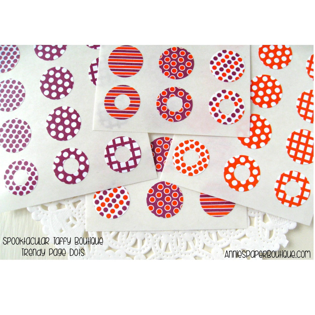 Spooktacular Taffy Trendy Page Dots, Halloween Orange and Purple Reinforcments
